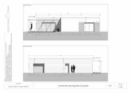 Maison paille façade cotée projet Modèle L
