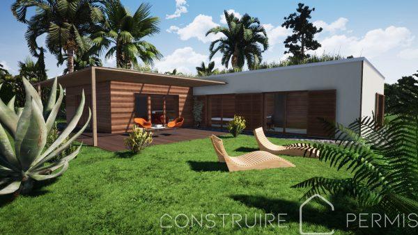 Maison paille perspective extérieure 1 modèle L