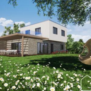 Maison paille Perspective extérieure 1 Modèle familiale