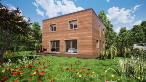 Maison paille Perspective extérieure 1 Modèle maison compacte