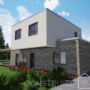 Maison paille Perspective extérieure 2 Modèle familiale