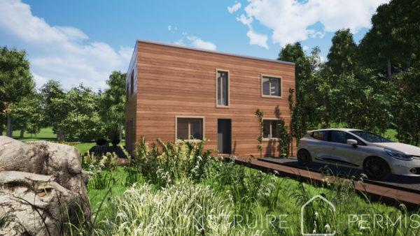Maison paille Perspective extérieure 2 Modèle maison compacte