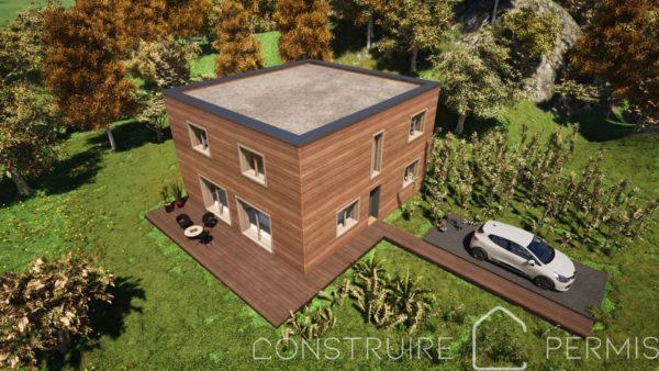 Maison paille Perspective extérieure 3 Modèle maison compacte