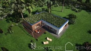 Maison paille Perspective aérienne 4 modèle L
