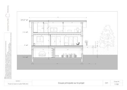 Maison paille Plan coupe modèle Chalet