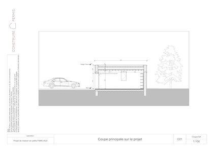 Maison paille Plan coupe projet garage