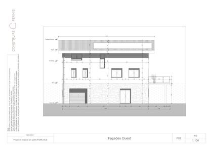 Maison paille Plan façade ouest modèle Chalet