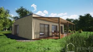 Maison paille perspective extérieure 2 modèle Essentielle