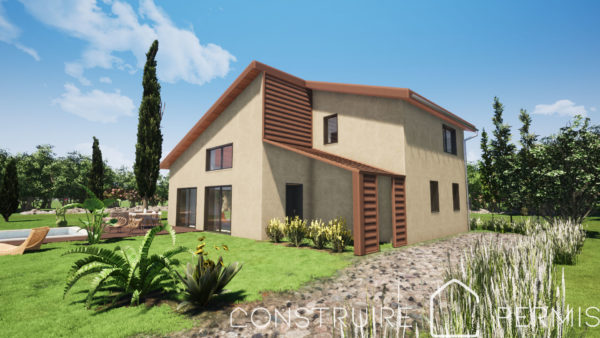 Maison paille Perspective extérieure 2 modèle PLAY HOUSE