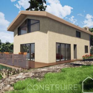 Maison paille Perspective extérieure 2 modèle Chalet