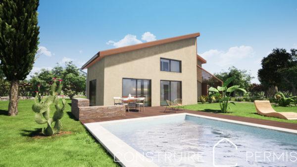 Maison paille Perspective extérieure 3 modèle PLAY HOUSE