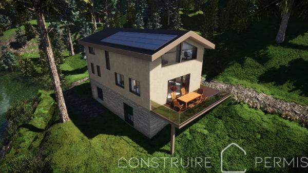Maison paille Perspective extérieure 3 modèle Chalet