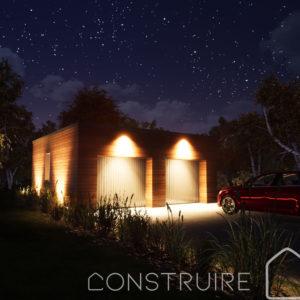 Maison paille Perspective extérieure nuit garage bardage