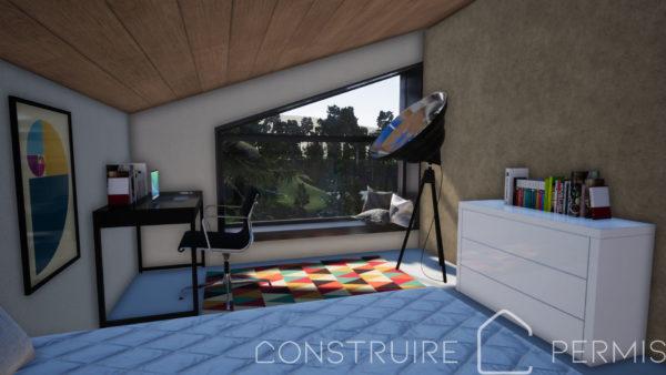 Maison paille Perspective intérieure modèle Chalet