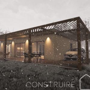 Maison paille perspective de nuit sous la neige